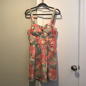 As U Wish Denim Floral Tropical Print Dress Sz 7
